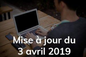 Actualités : La mise à jour d'avril 2019