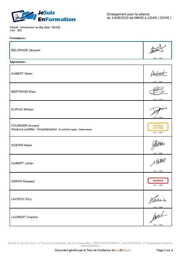 feuilles d'émargement PDF